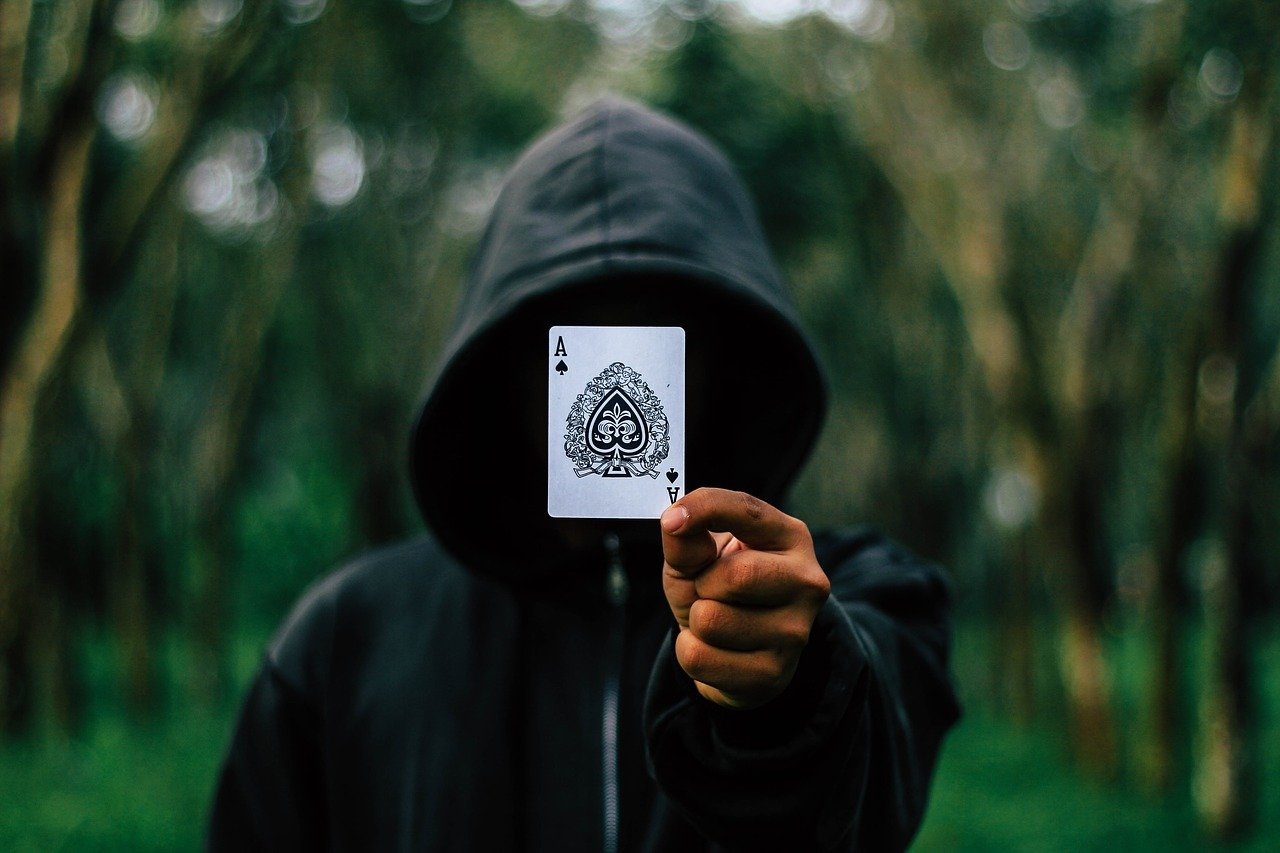 ace, cards, hooded